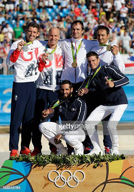Silver medalists David Florence and Richard Hounslow of Great Britain gold medalists Ladislav Skantar and Peter Skantar of Slovakia and Bronze...