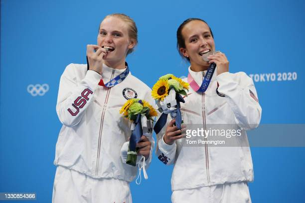 Silver medalists Delaney Schnell and Jessica Parratto of Team United States pose during the medal ceremony for the Women's Synchronised 10m Platform...