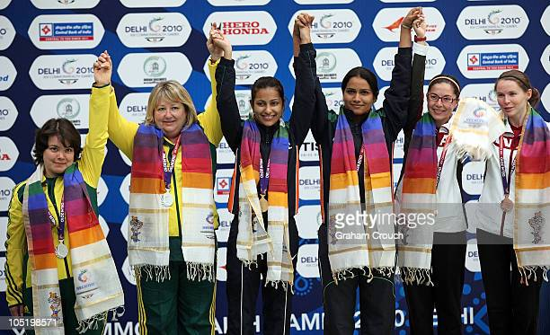 Silver medalists Dina Aspandiyarova and Pamela McKenzie of Australia Gold medalists Heena Sidhu and Annu Raj Singh of India and Bronze medalists...