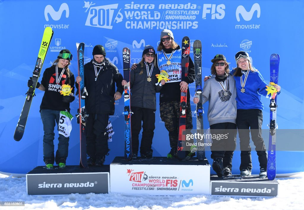 Silver medalists Emma Dahlstrom of Sweden and Gus Kenworthy of the United States, gold medalists Tess Ledeux of France and Mcrae Williams of the United States and bronze medalists James Woods of Great Britain and Isabel Atkin of Great Britain pose during the medal cermony for the Slopestyle finals on day twelve of the FIS Freestyle Ski & Snowboard World Championships 2017 on March 19, 2017 in Sierra Nevada, Spain.