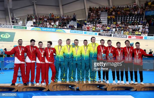 Silver medalists England gold medalists Australia and bronze medalists Canada celebrate during the medal ceremony for the Men's 4000m Team Pursuit...