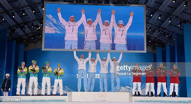Silver medalists Eric Frenzel, Bjoern Kircheisen, Johannes Rydzek and Fabian Riessle of Germany, Gold medalists Magnus Hovdal Moan, Haavard...