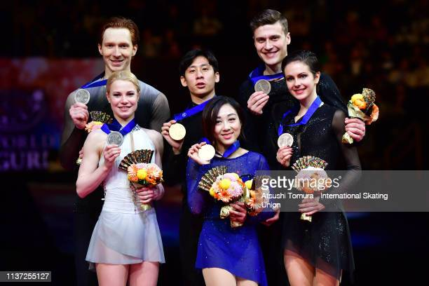 Silver medalists Evgenia Tarasova and Vladimir Morozov of Russia gold medalists Wenjing Sui and Cong Han of China and bronza medalists Natalia...
