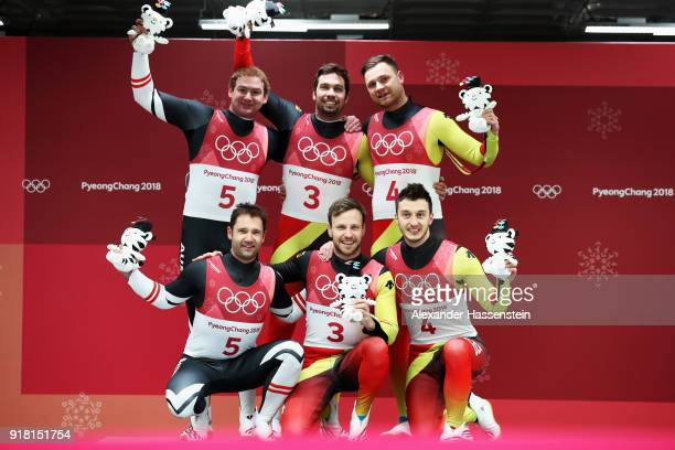 Silver medalists Georg Fischler and Peter Penz of Austria, gold medalists Tobias Wendl and Tobias Arlt of Germany and bronze medalists Sascha...