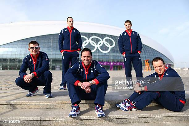 Silver medalists Greg Drummond Michael Goodfellow David Murdoch Scott Andrews and Tom Brewster of Great Britain curling team attend a British Olympic...