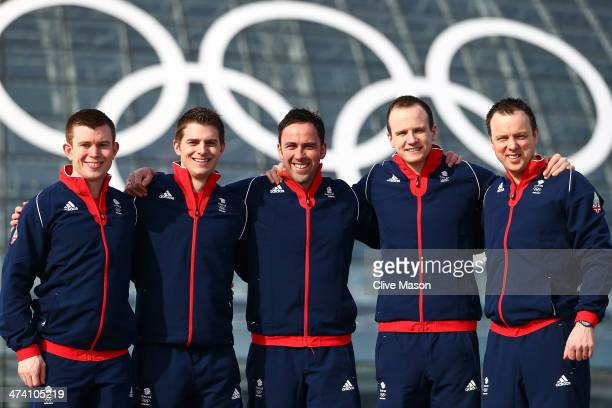 Silver medalists Greg Drummond Scott Andrews David Murdoch Michael Goodfellow and Tom Brewster of Great Britain attend British Olympic Association...