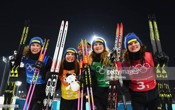 Silver medalists Hanna Oeberg Anna Magnusson Mona Brorsson and Linn Persson of Sweden during the Women's 4x6km Relay on day 13 of the PyeongChang...