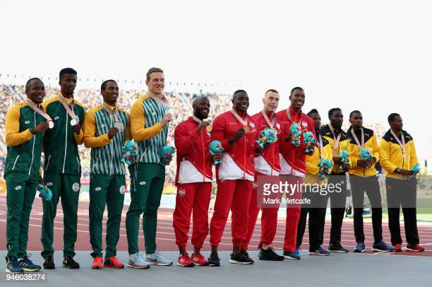 Silver medalists Henricho Bruintjies Emile Erasmus Anaso Jobodwana and Akani Simbine of South Africa gold medalists Reuben Arthur Zharnel Hughes...
