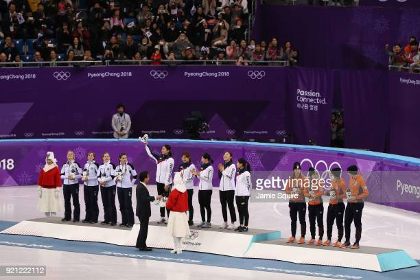 Silver medalists Italy gold medalists South Korea and bronze medalists Netherlands pose during the medal ceremony for the Ladies Short Track Speed...