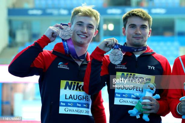Silver medalists Jack Laugher and Daniel Goodfellow of Great Britain pose during the medal ceremony for the Men's 3m Synchro Springboard Final on day...
