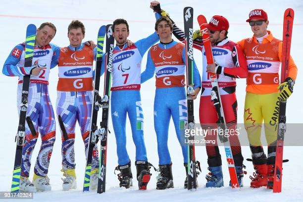 Silver Medalists Jakub Krako and his guide Branislav Brozman of Slovakia Gold Medalists Giacomo Bertagnolli and his guide Fabrizio Casal of Italy and...