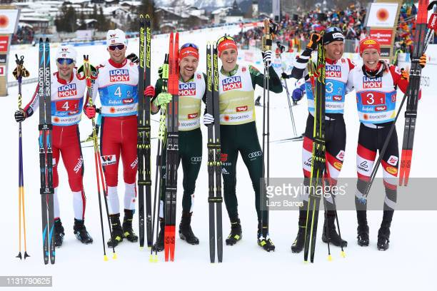 Silver medalists Jan Schmid and Jarl Magnus Riiber of Norway gold medalists Fabian Riessle and Eric Frenzel of Germany and bronze medalists Bernhard...