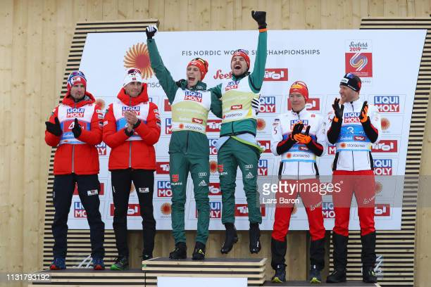 Silver medalists Jan Schmid and Jarl Magnus Riiber of Norway gold medalists Eric Frenzel and Fabian Riessle of Germany and bronze medalists...