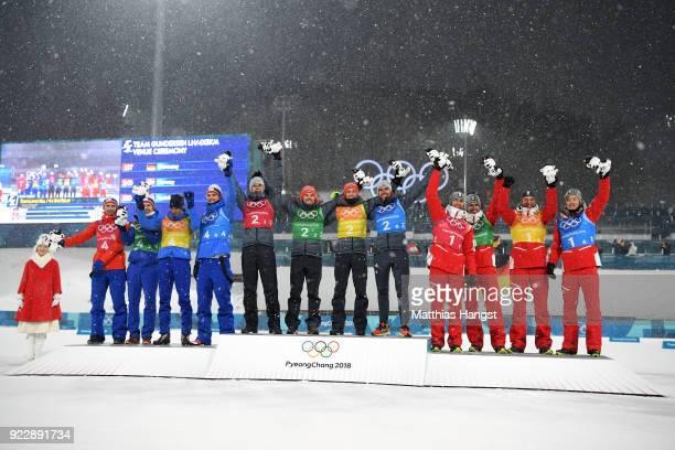 Silver medalists Jan Schmid of Norway Espen Andersen of Norway Jarl Magnus Riiber of Norway Joergen Graabak of Norway gold medalists Vinzenz Geiger...