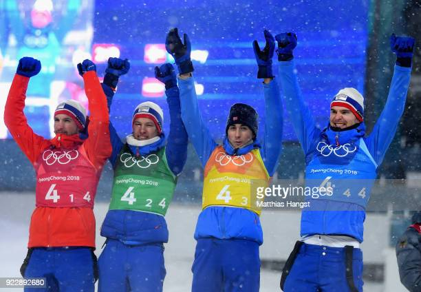 Silver medalists Jan Schmid of Norway Espen Andersen of Norway Jarl Magnus Riiber of Norway and Joergen Graabak of Norway pose during the victory...