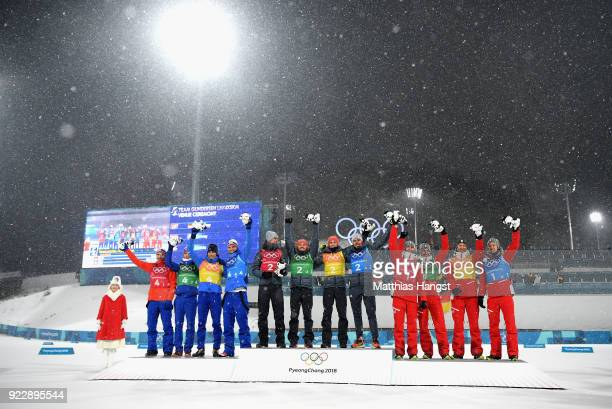 Silver medalists Jan Schmid of Norway Espen Andersen of Norway Jarl Magnus Riiber of Norway Joergen Graabak of Norway gold medalists Vinzenz Geiger...