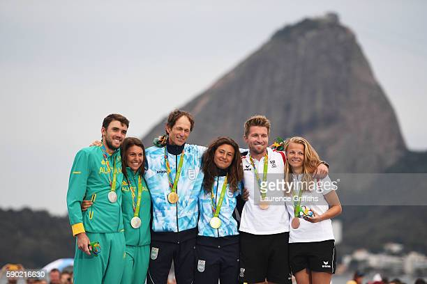 Silver medalists Jason Waterhouse of Australia and Lisa Darmanin of Australia gold medalists Santiago Lange of Argentina and Cecilia Carranza Saroli...