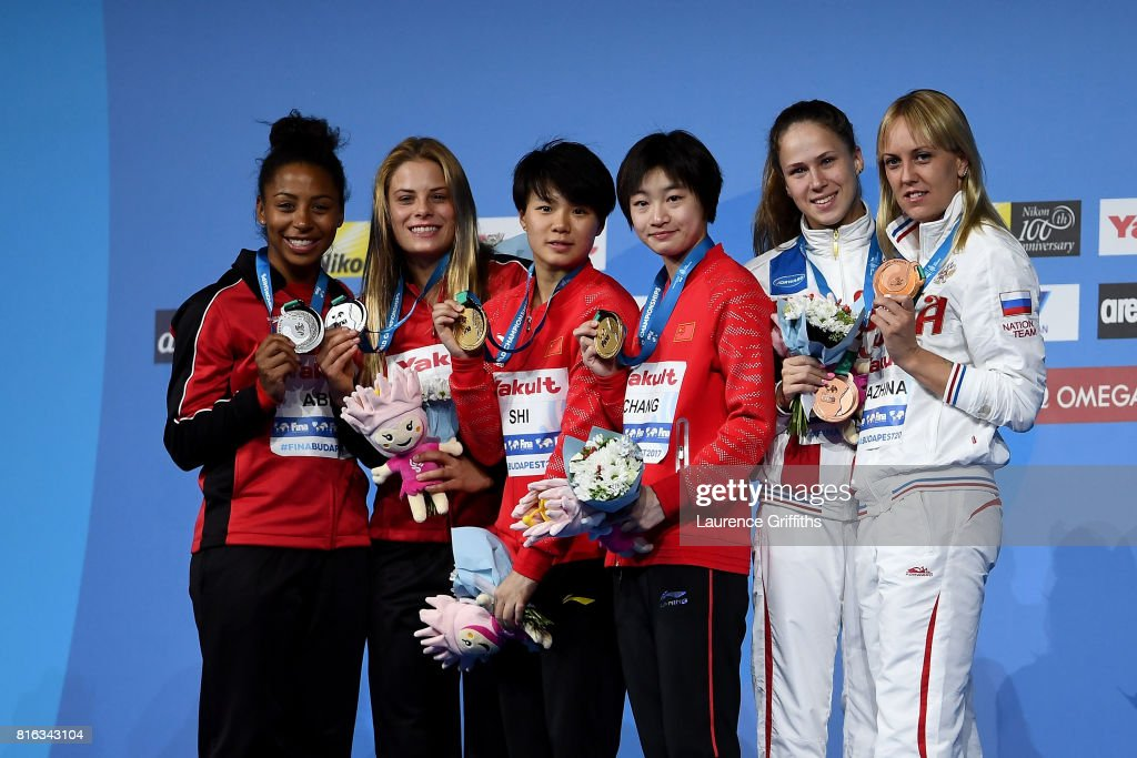 Silver medalists Jennifer Abel and Melissa Citrini Beaulieu of Canada, gold medalists Yani Chang and Tingmao Shi of China and bronze medalists Nadezhda Bazinha and Kristina Ilinykh of Russia pose with the medals won during the Women's Diving 3M Synchro Springboard final on day four of the Budapest 2017 FINA World Championships on July 17, 2017 in Budapest, Hungary.