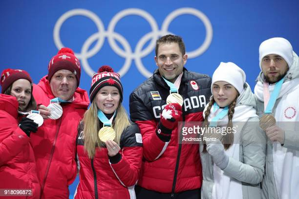 Silver medalists Jenny Perret and Martin Rios of Switzerland gold medalists Kaitlyn Lawes and John Morris of Canada and bronze medalists Anastasia...