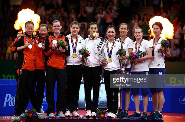 Silver medalists Jiao Li Jie Li and Britt Eerland of Netherlands gold medalists Petrissa Solja Han Ying and Xiaona Shan of Germany and bronze...