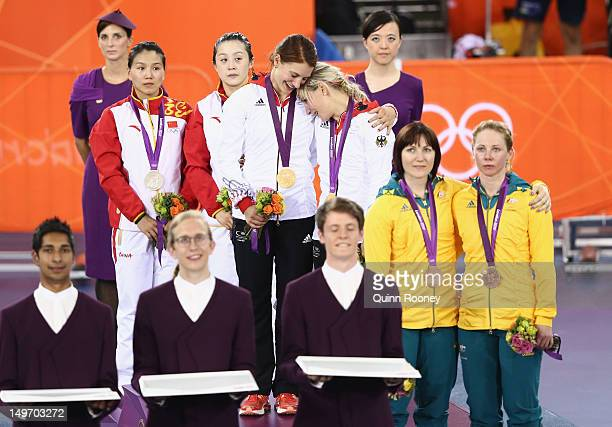Silver medalists Jinjie Gong and Shuang Guo of China gold medalists Miriam Welte and Kristina Vogel of Germany and bronze medalists Anna Meares and...