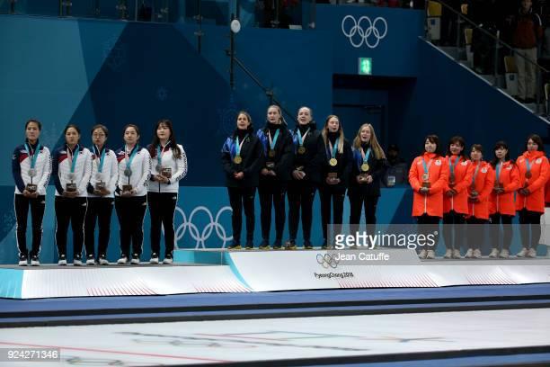Silver medalists Kim Eunjung Kim KyeongAe Kim SeonYeong Kim YeongMi Kim Chochi of Republic of Korea gold medalists Anna Hasselborg Sara McManus Agnes...
