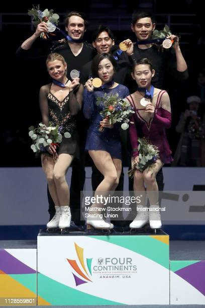 Silver medalists Kirsten MooreTowers and Michael Marinaro of Canada gold medalists Wenjing Sui and Cong Han of China Cheng Peng and bronze medalists...