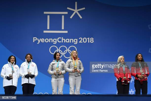 Silver medalists Lauren Gibbs and Elana Meyers Taylor of the United States gold medalists Lisa Buckwitz and Mariama Jamanka of Germany and bronze...