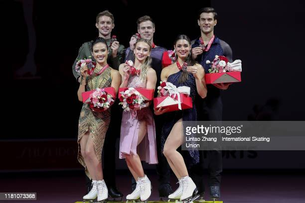 Silver medalists Madison Chock and Evan Bates of the United States, gold medalists Victoria Sinitsina and Nikita Katsalapov of Russia and bronze...
