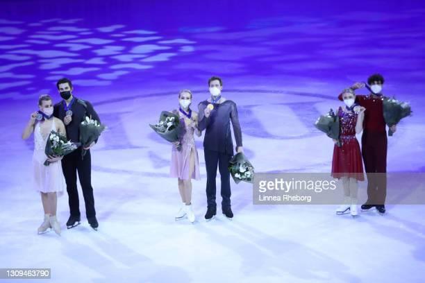 Silver medalists Madison Hubbell and Zachary Donohue of United States, gold medalists Victoria Sinitsina and Nikita Katsalapov of Figure Skating...
