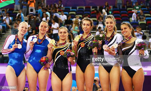 Silver medalists Marine Jurbert and Joelle Vallez of France gold medalists Yana Pavlova and Anna Kornetskaya of Russia and bronze medalists Beatriz...