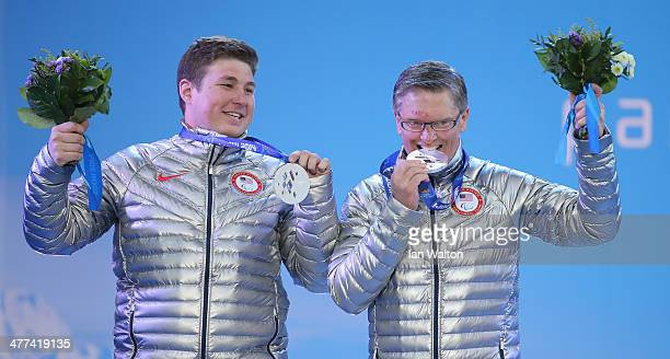 Silver medalists, Mark Bathum and his guide Cade Yamamoto of USA, acknowledge the crowd after the Men's Super G Visually Impaired final during the...