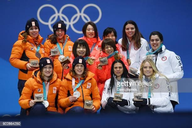 Silver medalists Marrit Leenstra Lotte Van Beek Ireen Wust and Antoinette De Jong of the Netherlands gold medalists Miho Takagi Ayaka Kikuchi Ayano...