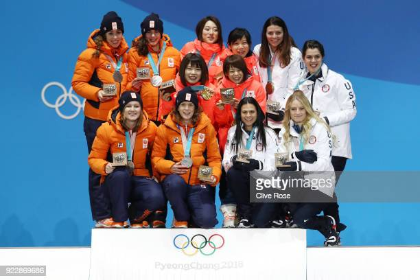 Silver medalists Marrit Leenstra Lotte Van Beek Ireen Wust and Antoinette De Jong of the Netherlands gold medalists Miho Takagi Ayaka Kikuchi Ayano...