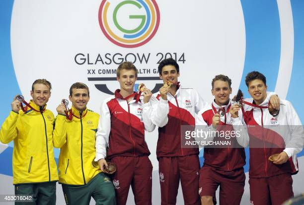 Silver Medalists Matthew Mitcham and Grant Nel of Australia Gold Medalists Jack Laugher and Chris Mears of England and Bronze medalists Nick...