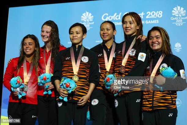 Silver medalists Meaghan Benfeito and Caeli Mckay of Canada gold medalists Jun Hoong Cheong and Pandelela Rinong Pamg of Malaysia and bronze...