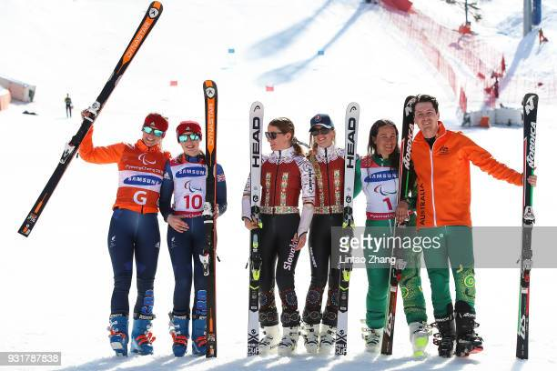 Silver Medalists Menna Fitzpatrick of Great Britain and her guide Jennifer Kehoe Gold Medalists Henrieta Farkasova and her guide Natalia Subrtova of...