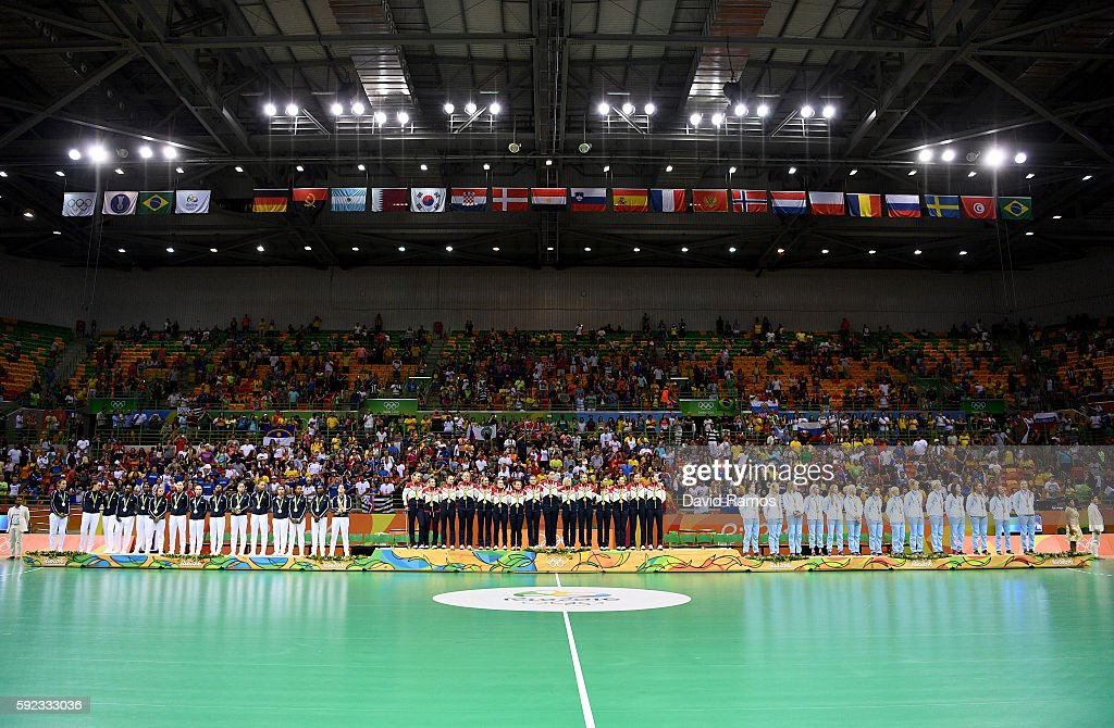 Silver medalists of France, gold medalists of Russia and bronze medalists of Norway stand on the podium during the medal ceremony for the Women's Handball contest at Future Arena on Day 15 of the Rio 2016 Olympic Games at the Future Arena on August 20, 2016 in Rio de Janeiro, Brazil.