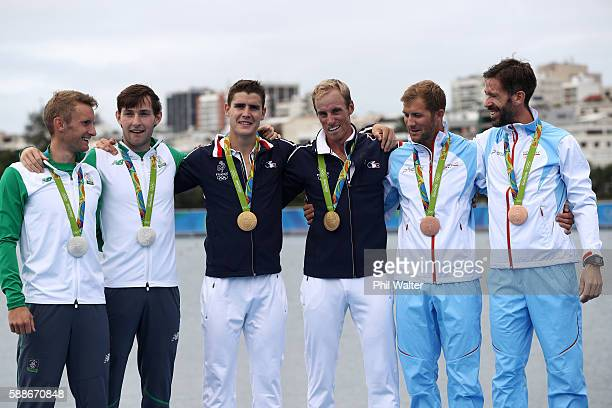 Silver medalists Paul O'Donovan and Gary O'Donovan of Ireland gold medalists Pierre Houin and Jeremie Azou of France and bronze medalists Kristoffer...