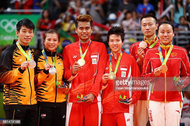 Silver medalists Peng Soon Chan and Liu Ying Goh of Malaysia gold medalists Tontowi Ahmad and Liliyana Natsir of Indonesia and bronze medalists Nan...