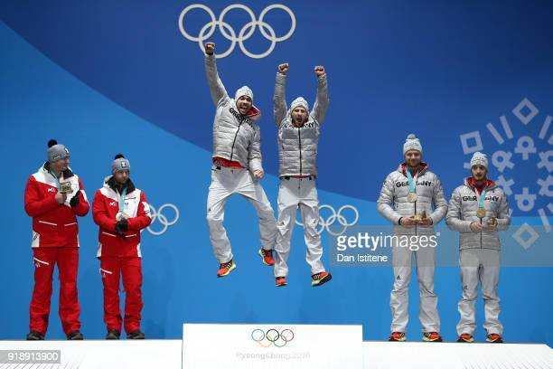 Silver medalists Peter Penz and Georg Fischler of Austria gold medalists Tobias Wendl and Tobias Arlt of Germany and bronze medalists Toni Eggert and...
