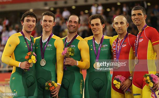 Silver medalists Pilot Bryce Lindores and Sean Finning of Australia Gold medalists Pilot Scott McPhee and Kieran Modra of Australia and bronze...