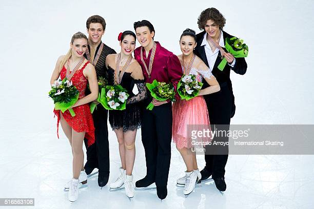 Silver medalists Rachel Parsons and Michael Parsons of USA, gold medalists Lorraine Mcnamara and Quinn Carpenter of USA and bronze medalists Alla...