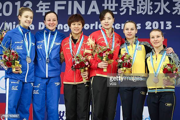 Silver medalists Rebecca Gallantree and Alicia Blagg of Great Britain gold medalists Shi Tingmao and Wu Minxia of China bronze medalists Anna...