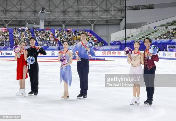 Silver medalists Rikako Fukase and Eichu Cho of Japan, Gold medalists Misato Komatsubara and Tim Koleto of Japan and Bronze medalists Kana Muramoto...