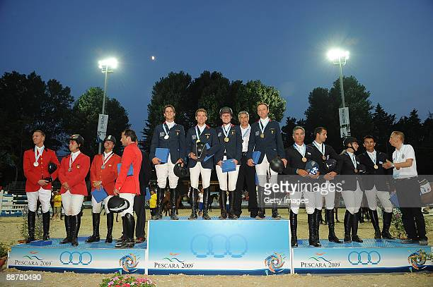 Silver medalists Rutheford Latham Morehead Sergio Alvarez Moya Luis Jesus Escobar Jimenez and Riccardo Jurando Narvaez of Spain gold medalists Julien...