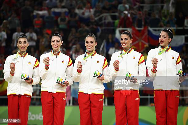 Silver medalists Sandra Aguilar Artemi Gavezou Elena Lopez Lourdes Mohedano and Alejandra Quereda of Spain celebrate during the medal ceremony...