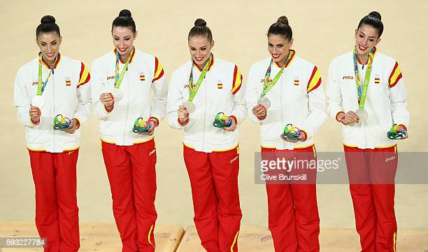 Silver medalists Sandra Aguilar Artemi Gavezou Elena Lopez Lourdes Mohedano and Alejandra Quereda of Spain stand on the podium during the medal...