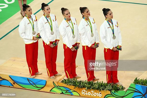 Silver medalists Sandra Aguilar Artemi Gavezou Elena Lopez Lourdes Mohedano and Alejandra Quereda of Spain stand on the podium during the medal...