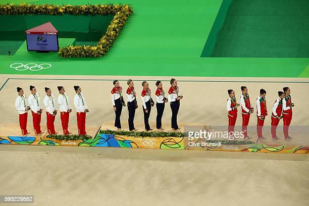 Silver medalists Sandra Aguilar Artemi Gavezou Elena Lopez Lourdes Mohedano and Alejandra Quereda of Spain gold medalists Vera Biriukova Anastasia...